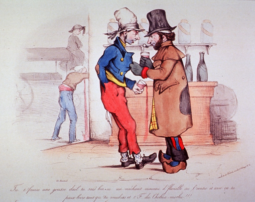 <p>An old man and a young man stand facing each other; both are holding glasses of alcohol, and the old man has a grip on the young man's coat.  Through a doorway a man is seen vomiting.</p>