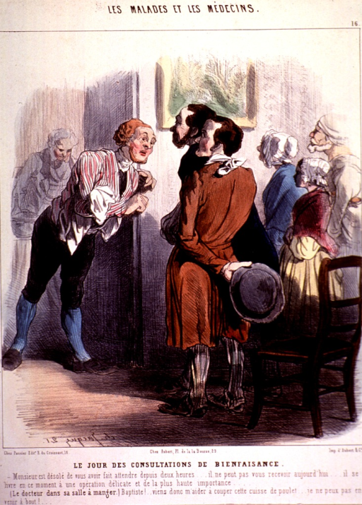 <p>Two men are approached by another man through a doorway, he leans toward them in consultation; in the background, a small group of people are waiting.</p>