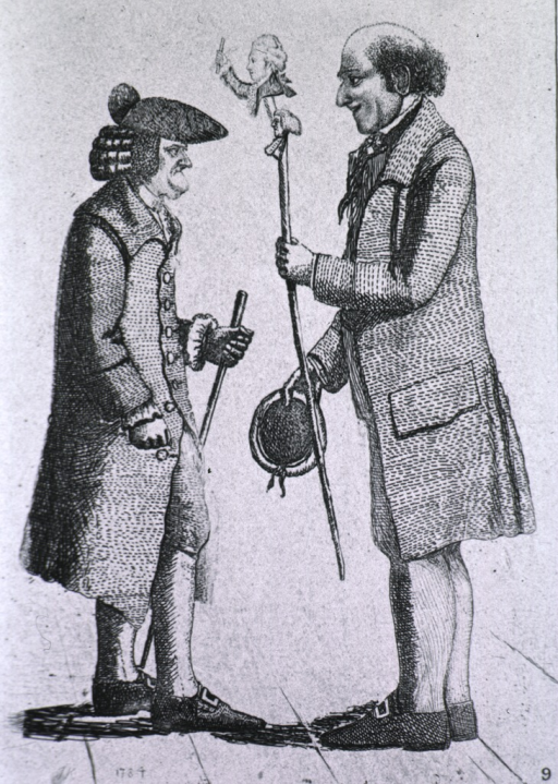 <p>Dr. Glen faces Laird Robertson who is holding a stick on the upper top of which is Principal Robertson with his arm raised, beneath him is James Graham.</p>
