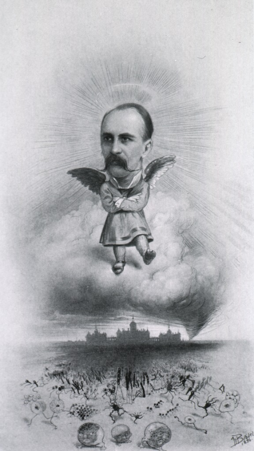 <p>Caricature of Sir William Osler above Johns Hopkins Hospital as an angel.</p>