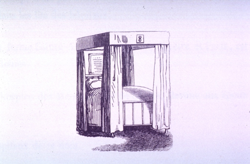 <p>Vignette of an empty hospital bed with a chart at the headboard and the number eight on the canopy frame.</p>