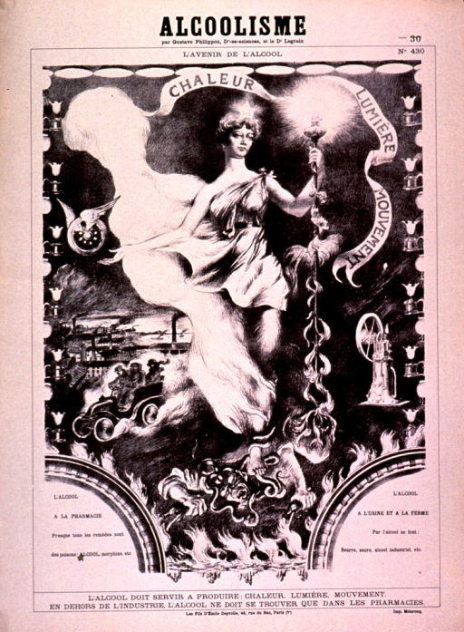 <p>Discolored white poster with black lettering.  Title at top of poster.  Title may refer to a larger publication in which the visual image appeared.  Note text below title.  Visual image is a reproduction of an allegorical scene depicting the future of alcohol.  Alcohol appears as a woman in a roman-style robe, holding a staff.  Above her floats a banner with the text &quot;chaleur, lumiere, mouvement,&quot; or heat, light, and movement.  Sconces and light fixtures surround the scene, which also includes a car and a factory.  Near the bottom of the scene, a figure pours liquor into a fire; the woman has one foot on the figure's head.  Caption below image states that alcohol must serve to produce heat, light, and movement, but outside of industry, it should only be found in pharmacies.  Publisher information at bottom of poster.</p>