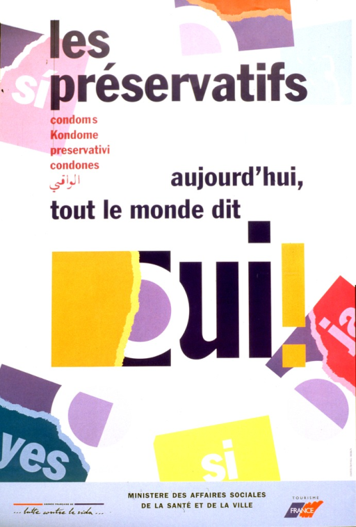 <p>Poster consists of text only, with the words for condom and yes in different languages.</p>