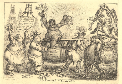<p>A satire of a proposed tax affecting brewers and the alleged substitution of quassia for hops.  Quassia is the wood, bark, or root of a South American tree from which a bitter decoction is obtained for medicinal purposes. In the print, which shows a triumphal procession of an African woman symbolizing quassia being carried on a barrel, various political figures of the day, including Fox, are satirized.</p>