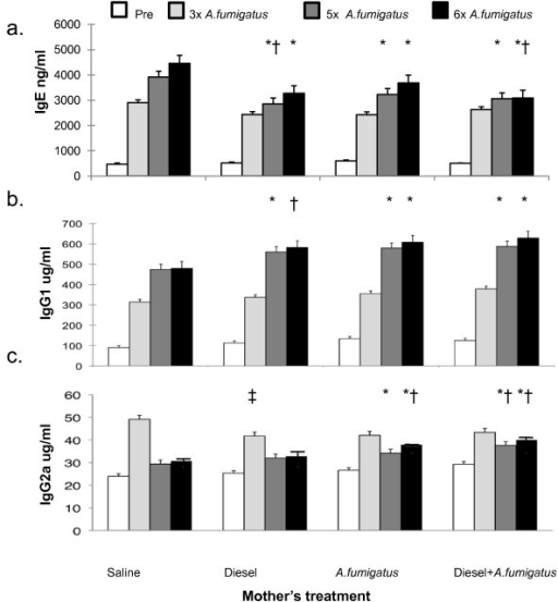 Ig induction in offspring after three, five and six doses of A. fumigatus. a) IgE was reduced after the fifth and sixth (p < 0.0001 on ANOVA), but not third (p = NS, ANOVA), doses among offspring mice whose mothers were exposed to either A. fumigatus or diesel exhaust particles or both. *p < 0.01, when compared to saline alone by Tukey HSD. † p < 0.05, when compared to A. fumigatus alone by Tukey HSD b) IgG1 was greater after the fifth, sixth (p < 0.0001 on ANOVA), but not third (p = NS, ANOVA), doses among mice whose mothers were exposed to either A. fumigatus or diesel exhaust particles or both. *p < 0.01, when compared to saline alone by Tukey HSD. †p < 0.05, when compared to saline alone by Tukey HSD. c) IgG2a was greater after the fifth, sixth (p < 0.0001 on ANOVA) dose among mice whose mothers were exposed to A. fumigatus or diesel exhaust particles plus A. fumigatus. *p < 0.01, when compared to saline alone by Tukey HSD. Levels also were greater among offspring of mothers that were exposed to both diesel exhaust particles and A. fumigatus when compared to offspring of mothers treated either with diesel exhaust or A. fumigatus alone, p < 0.01.†p < 0.01, when compared to diesel exhaust particles alone by Tukey HSD. ‡ p < 0.05 on ANOVA and when compared to saline alone by Tukey HSD. Sample sizes corresponding to the figures vary as follows: Saline 11-14; Diesel 11-15; A. fumigatus: 8-18; Diesel and A. fumigatus 13-25.