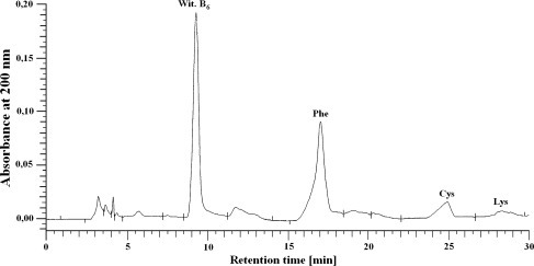 Chromatogram for the amino acids Phe, Cys, and Lys, which occurred in the all of the peptides for each treatment group after hydrolysis of liver cell membrane protein isolates (UV detected at 200 nm)