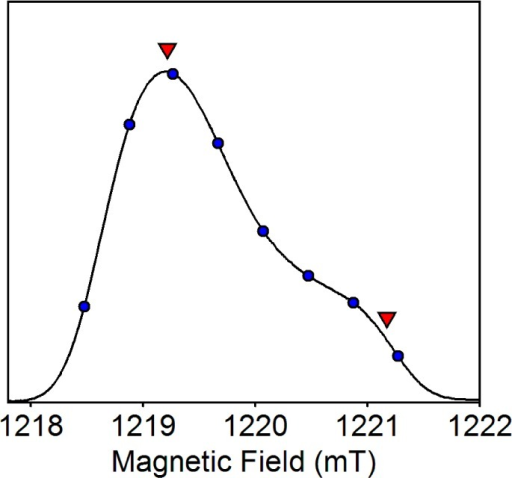 Field-swept two-pulseecho of SQA at Q-band. gZ is resolved at the higherfield position ∼1221 mT, whereas gX and gY form an unresolved pair at ∼1219 mT. Circles mark the fieldpositions used for Davies ENDOR measurements. Triangles mark the orientationsof the external magnetic field in-plane with the gX/gY axes (1219.2 mT) and along the unique gZ axis (1221.2 mT) used for HYSCORE measurements.Experimental parameters: π/2-pulse length = 120 ns, time betweenthe first and second pulses τ = 500 ns, microwave frequency= 34.222 GHz, temperature = 80 K.