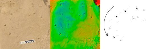 Long trail produced by P. annectens traversing soft mud, presented as photo (left), height mapped digital model (centre), and interpretive drawing (right).Arrow indicates direction of travel. Scale bar = 10 cm, colour height map represents 19 mm from blue (low) to red (high).
