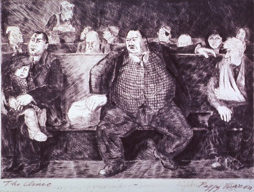 <p>An enormous man is sitting on a bench at a clinic.</p>