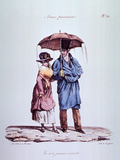 <p>Caricature:  A man and a woman standing under an umbrella; the man is adequately covered, but water pours off the umbrella onto the woman.</p>