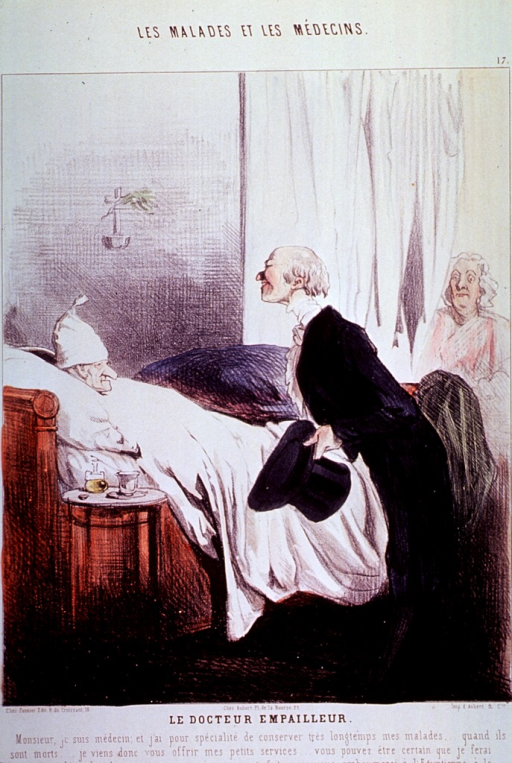<p>A physician holding his hat is standing at a patient's bedside.</p>