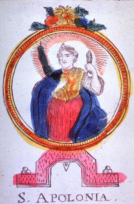 <p>Three-quarter length, standing, left pose; holding pincers and a palm frond; medallion on a pedestal.</p>