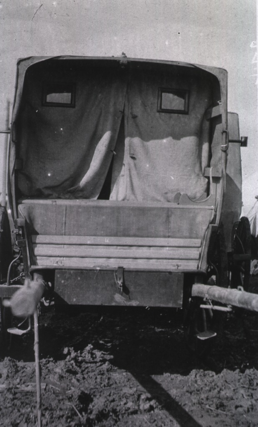 <p>A view of the back of a Moscow ambulance cart.</p>