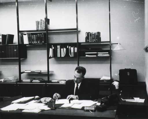<p>Informal candid camera views of Dr. Rogers in the Public catalog are and in his office, NLM.</p>