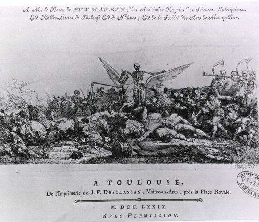 <p>Title page vignette of battlefield scene: a skeleton, carrying scythe and riding winged horse through a throng of dead or dying bodies, motions to other skeletons on horseback (at right) to follow.</p>