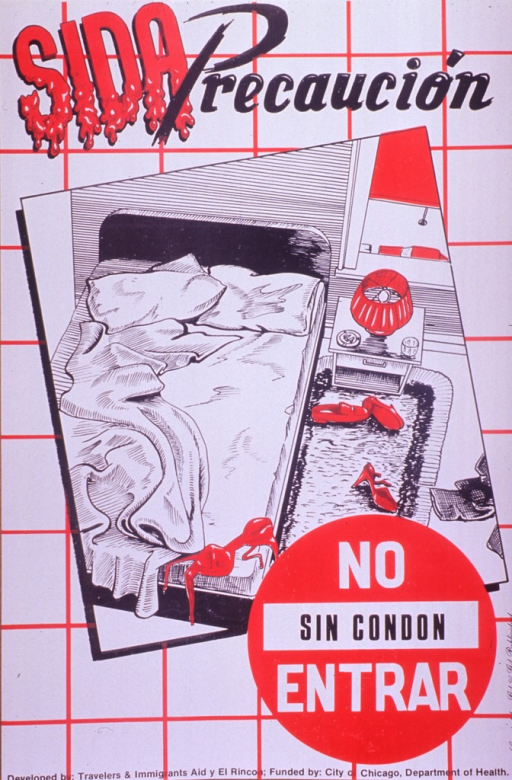 <p>Predominantly white and red poster with multicolor lettering.  Title at top of poster.  Font for the word &quot;sida&quot; becomes irregular in the lower portion of each letter.  The effect is suggestive of dripping or melting.  Dominant visual image is an illustration of a bedroom, as seen from overhead.  The bed is unmade and a bra and two pairs of shoes are strewn about the room.  Note text superimposed on a &quot;do not enter&quot; sign in lower right corner.  Publisher and sponsor information at bottom of poster.</p>