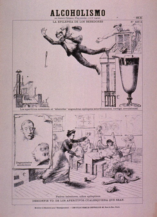 <p>Predominantly white poster with black lettering.  Title at top of poster.  Title may refer to a larger publication in which the visual images appeared.  Note below title refers to the &quot;epilepsy&quot; of drinkers.  Dominant images are illustrations depicting a man falling from a roof and a child in a school room having a seizure.  Smaller illustrations feature a wine glass and a poster showing the facial features of &quot;degenerate alcoholics.&quot;  Additional text on poster links consuming apertifs, particularly absinthe,  with the onset of epilepsy and further notes that a father who drinks may have an epileptic child.  Caption below illustrations encourages stopping drinking such apertifs.  Publisher information at bottom of poster.</p>