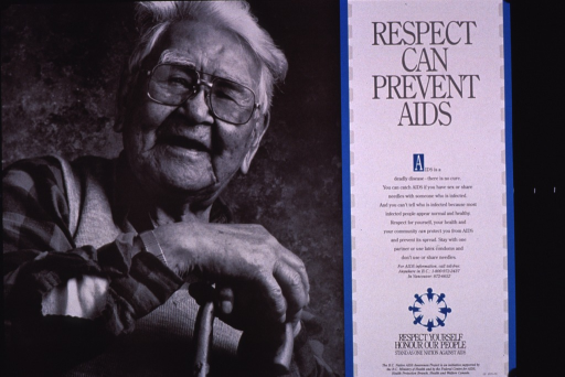<p>Predominantly black and white poster with gray lettering and blue highlights.  All text on right side of poster.  Title at top.  Lengthy caption discusses ways to prevent AIDS.  Note, publisher and sponsor information near bottom of poster.  Visual image is a b&amp;w photo reproduction featuring an elderly man.</p>