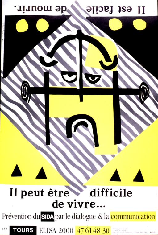 <p>Abstract drawing of a face, frowning when viewed right side up and smiling when viewed upside down. The first part of the title is printed upside down at the top of the poster and the second part is printed below the frowning part of the face.</p>