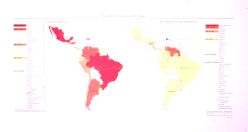 <p>Graphic shows two maps of Central and South America.  On one side is a color key and numerical estimate of total reported AIDS cases, and on the other side the same for estimated HIV infections per 100,000 persons.</p>