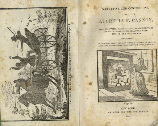 <p>On the left hand side of the image is the frontspiece showing a drawing of Lucretia P. Cannon and her gang firing at the Slave Dealers, p. 13. On the right hand side is the pamhlet title page which contains a drawing of Cannon throwing an infant into a fire.</p>