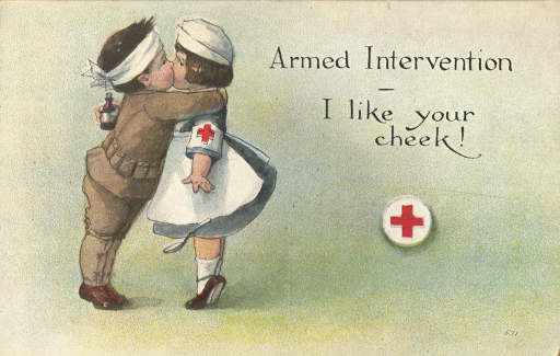 <p>Color illustration of a little girl dressed in a Red Cross uniform standing on her tip toes and being kissed on the cheek by a little boy dressed as a soldier. The little boy has a bandage wrapped around his head and his arms wrapped around the little girl's neck. The little girl is holding a medicine bottle in her right hand and a spoon has dropped out of her left hand. There is a red cross symbol to their right. This postcard is from a series of 12 postcards titled &quot;War Nurses,&quot; published in the United States, all featuing the little girl.</p>