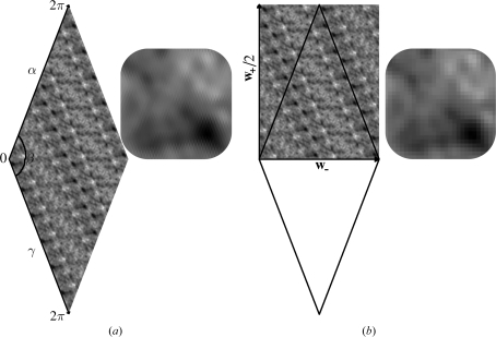 Plot of the β = 137.8° section of the self-rotation function corresponding to the IBDV VP2 subviral particle evaluated by FFT techniques: (a) classical sampling on the primitive oblique cell; (b) metric based sampling on one independent half of the rectangular centred cell (the corresponding primitive oblique cell is outlined for reference). A detail of the two plots is also shown.