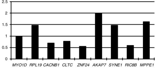 Expression divergences between nine neo-Y and neo-X gene pairs. All expression assays were done in duplicate and double checked in both male individuals. Mean expression ratios of neo-Y to neo-X are shown. The genes are arranged following the order from the centromere to the distal region of the 1p+4 chromosome.
