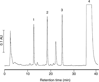High-performance liquid chromatography chromatogram of an extract of a mixture of quercetin (1 mM), glutathione (1 mM) and mushroom tyrosinase (150 U ml−1). Mass spectral analysis performed in the selected ion monitoring mode suggests the following peak allocation: '1' bis-glutathionyl-S-quercetin (m/z 911), '2' and '3' glutathionyl-S-quercetin (m/z 606) and '4' quercetin. AU=absorbance units. For details of incubation conditions, sample preparation and chromatographic conditions see Materials and Methods. The chromatogram shown is representative of three separate experiments.