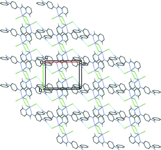 The crystal packing of the title compound viewed along the c axis. The hydrogen bonds are shown as dashed lines (see Table 1 for details), and for clarity only the H atoms involved in hydrogen bonding are shown.