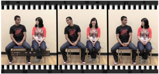 Example of the eye contact phase of the experiment. Participants were seated in close proximity, akin to sitting on a bus or next to someone in a classroom.