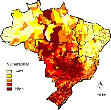 Classification of vulnerability to HCPS in Brazil based on multi-criteria decision analysis and epidemiological, demographic, and socioeconomic indicators. The map shows a chromatic scale representing areas of higher vulnerability in dark red and lower vulnerability in light yellow