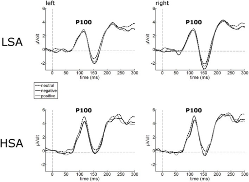 Illustration of the P100 component averaged across left and right occipital electrode clusters per experimental group (HSA vs. LSA) for negatively, neutrally, and positively contextualized faces. Overall, P100 amplitudes are enhanced in HSA compared to LSA.