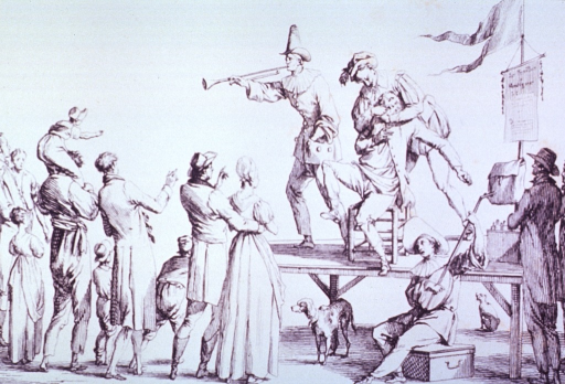 <p>Exterior scene: On a raised platform a dentist struggles with a patient in his efforts to extract a tooth; standing next to them is a clown blowing a horn; a crowd has gathered to watch. A dog is under the platform and another musician sits on a box.</p>