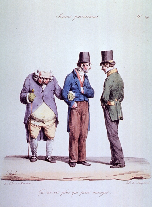 <p>Caricature:  Two men have stopped to talk; one of them has with him an old man with failing eyesight.  The old man simply stands there, head bowed, and holding a walking stick in one hand, his left arm is looped around the young man's right arm.</p>