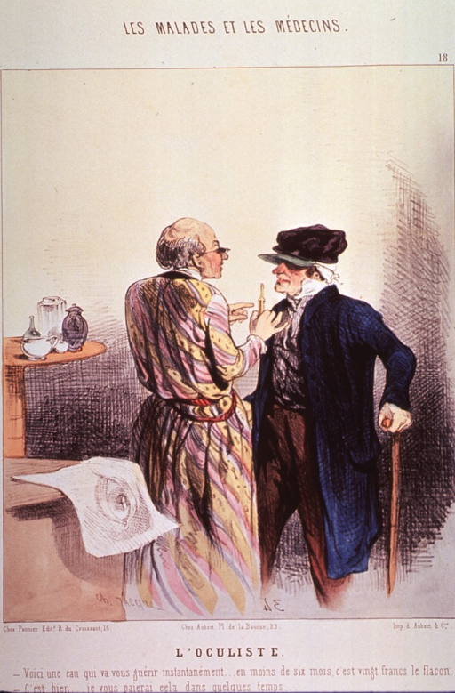 <p>A physician performs an eye examination on an old man standing before him.</p>