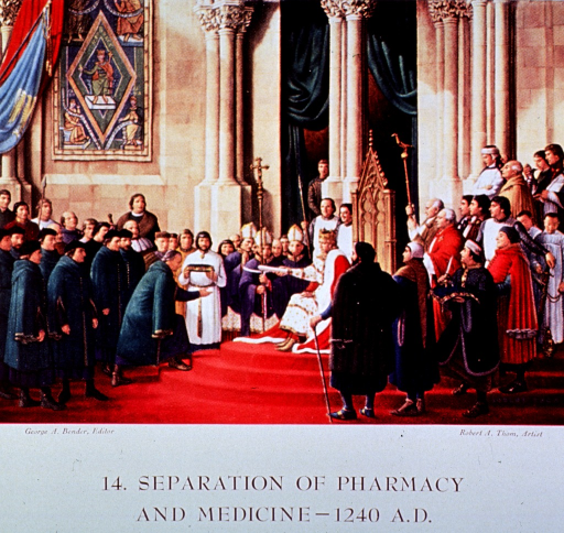 <p>Showing Frederick II of Hohenstaufen, in 1240 AD, delivering an edict separating the responsibilities of pharmacy from those of medicine.</p>