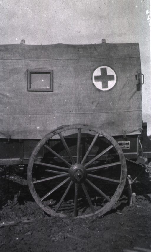 <p>A view of the side of a Moscow ambulance cart.</p>
