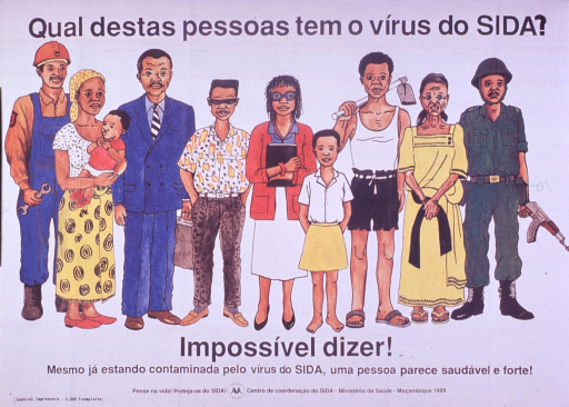 <p>Predominantly white poster with black lettering.  Title at top of poster.  Visual image is a color illustration of a diverse group of people, ranging from an infant to an elderly woman and including farmers, laborers, and professionals.  Caption below illustration indicates that it is impossible to tell, as an person infected with the AIDS virus may look healthy and strong.  Note and publisher information at bottom of poster.</p>