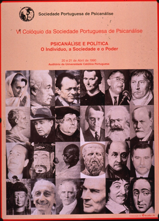 <p>Predominantly orange poster with black and red lettering.  Publisher information at top of poster.  Conference name and title below publisher statement, along with dates and location for conference.  Visual images are b&amp;w reproductions of photos, paintings, engravings, and sculptures of famous politicians, religious and social leaders, and Sigmund Freud.</p>