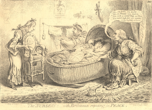 <p>A satire on the conciliatory attitude of the British ministers towards Napoleon in the face of the latter's aggressions. Three figures, representing political personalities of the day (Fox, Addington, and Hawkesbury), surround a large wicker cradle in which reposes Britannia with her thumb in her mouth.  Addington, dressed as an old woman, rocks the cradle and sings a song (the dialog bubble starts: &quot;o, By, my Baby, my Baby ...&quot;); Hawkesbury, dressed as a nursemaid, approaches the cradle and carries a child's commode inscribed &quot;French C...k...g Chair&quot;; and Fox, seated behind the cradle, looks at Britannia through the corner of his eye as he folds linen on which is inscribed &quot;French Cambrick&quot;.  A portrait of Napoleon hangs above the fireplace.</p>