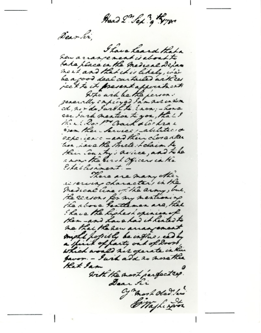 <p>Letter written by George Washington in 1780 addressed to &quot;The Honorable Joseph Jones, Esq. of Congress at Philadelphia.&quot; Appears in A history of the National Library of Medicine by Dr. Wyndham D. Miles, p. 84.</p>