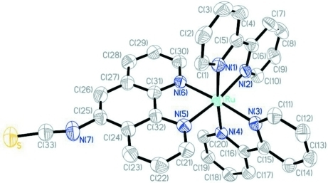 View of the cation in the title compound. Thermal ellipsoids are shown at the 50% probability level. H atoms, hexafluoridophosphate anions and the acetonitrile solvent molecule have been omitted for clarity.