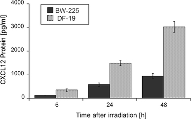 CXCL12 protein expression in cell culture supernatants of BW-225 tumor and DF-19 normal cell lines 6, 24, and 48 h after irradiation. Data are normalized for CXCL12 content before irradiation; error bars represent standard errors of 3 measurements. The CXCL12 accumulation is statistically significant with P = <0.001
