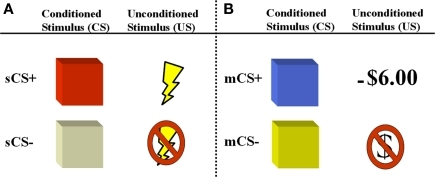 Depiction of aversive conditioning components of experimental paradigm. Participants are presented with two counterbalanced aversive conditioning sessions following a gambling game where they earn a monetary endowment. (A) In the first session, the unconditioned stimulus is a mild electric shock (primary reinforcer) which is paired with a colored square (sCS+). (B) In the second session, the unconditioned stimulus is a monetary loss (−$6.00), which is paired with a different colored square (mCS+) and detracted from the total sum earned during the gambling game.