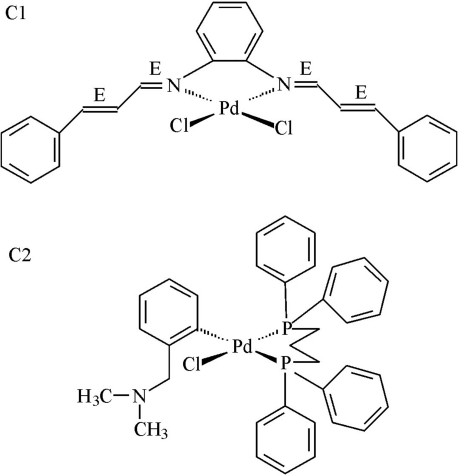 Structures of palladium(II) complexes. C1, [Pd(ca2-o-phen)Cl2]; C2, [Pd(dmba)(dppp)Cl].
