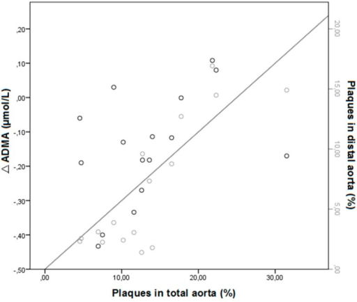 Pearson correlation between ∆ADMA (T0–T8, n = 4 per group) and aortic lesions in the distal aorta (r = 0.677, p = 0.01) and total aorta (r = 0.599, p = 0.03).