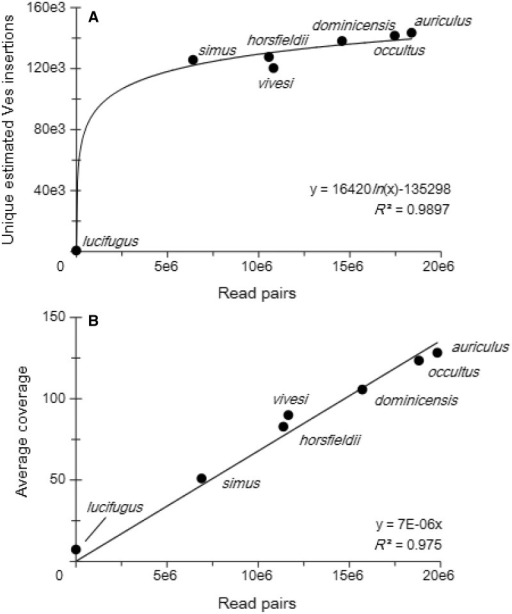 Sequence statistics per Ves insertion. (A) After approximately 5 million reads, the number of Ves insertions identified tended to stabilize so that more sequencing did not identify additional insertions, proportionally. (B) The average coverage of each Ves insertion is directly related to the number of read pairs.