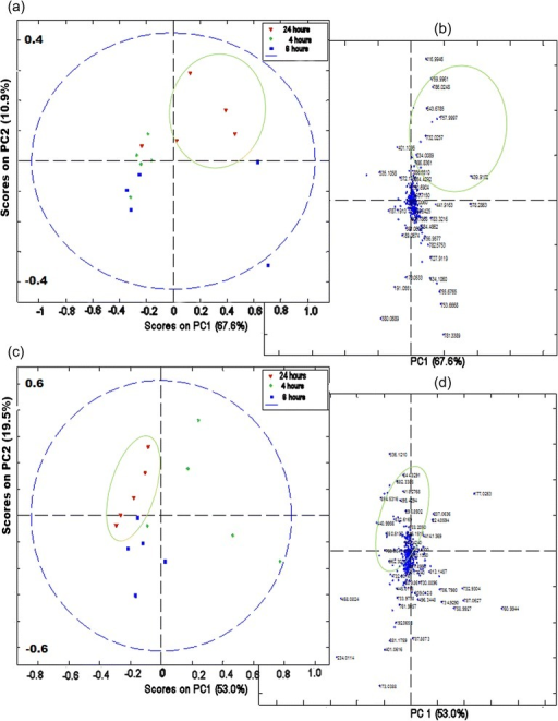 Principal component analysis of MALDI-MS spectra acquired from LSE. Score plots were generated showing groupings and variability between the 4, 6 and 24 h group spectra from the a) epidermis or c) dermis regions of the skin. The loading plots show a distribution of m/z spectra ion species which are contributors of grouping and variability in the b) epidermis or d) dermis between the time-course groups; the quadrant space in corresponding between the plots