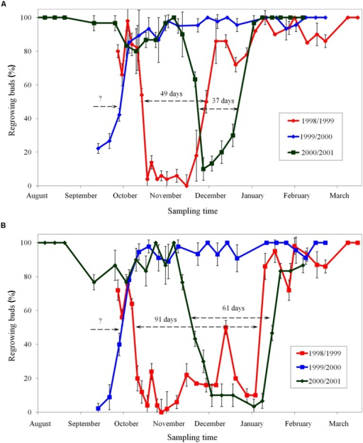 Period of endodormancy of vegetative buds of apple cultivars 'Sampion' (A) and 'Spartan' (B) in the seasons of 1998/1999, 1999/2000, and 2000/2001. Endodormancy was assessed when less than 50% of buds did not regrow after 30 days in growth inductive conditions. Bars indicate SD (p < 0.05). Note: Different beginning and the end of endodormancy. The length of arrows corresponds to the length of endodormancy (in days). The question mark indicates unknown length of endodormancy in the season 1999/2000.